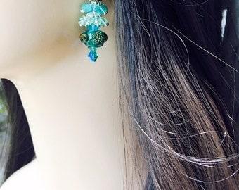 Nautical Earrings, Turquoise Lampwork Glass Beads showing Sea Life, Swarovski Caribbean Blue Crystals, Dangling Aqua Crystals,Resort Jewelry