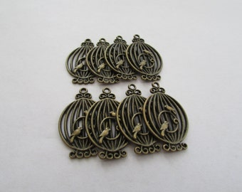antique Bronze Earring Connector,Earring Connector,Bird Cage Earring Connector