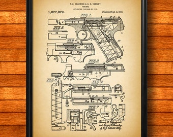 "Retro 1918 ""Firearm"" Vintage Patent Illustration, Art Print Poster, Wall Art, Home Decor, Gun, Handgun, Pistol, Shooting, Gift 878"