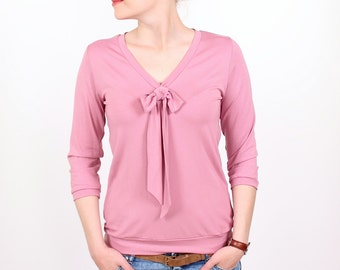 """""""Lore"""" with decorative bow blouse / / dusty pink"""