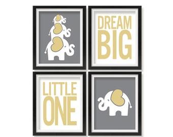 Elephant Baby Nursery Art Elephant Nursery Prints Kids Wall Art Baby Room Nursery Decor Dream Big Little One Toddler Room Artwork Word002
