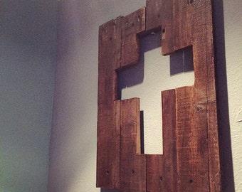 Reclaimed pallet Wood Christian Cross cutout sign