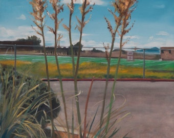 Yuccas at DeVargas MS and Llano Original oil painting by Santa Fe, New Mexico artist Raquel Underwood