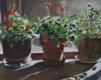 Three Geraniums Original Oil Painting by Santa Fe New Mexico Artist Raquel Underwood (unframed)
