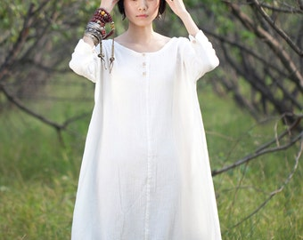 Women dress - Long sleeves Dress - Summer dress - Overclothes - Cotton dress - Made to order