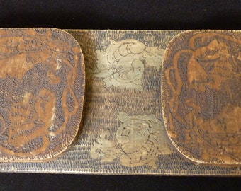 Antique Art Nouveau Arts and Crafts Small Book Shelf Etched Wood Carving Early 20th century