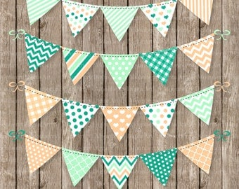 """Bunting Banners Clipart """"BUNTING CLIPART"""". Mint and Peach Bunting.Patterned Bunting.Party Bunting.Bunting Banners.Invitations.Commercial Use"""