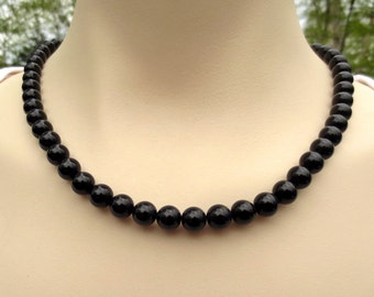 Onyx Beaded Necklace , Black Onyx Gemstone Jewelry, Black Necklace, Gift for Her, LBD
