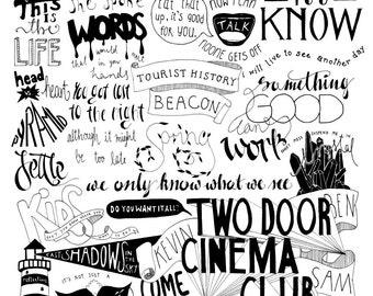TDCC Two Door Cinema Club Tourist History/Beacon Lyrics Compilation Poster