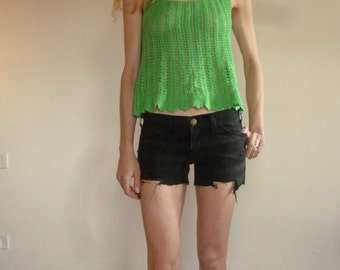 Crochet cotton knit swing top, easy summer style