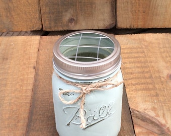 Hand Painted Mason Jar Toothbrush Holder