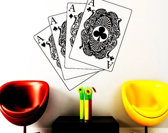 Wall Decals Cards Decal Vinyl Sticker Poker Cards Casino Home Decor Kitchen Interior Design Bedroom Dorm Living Room NA313