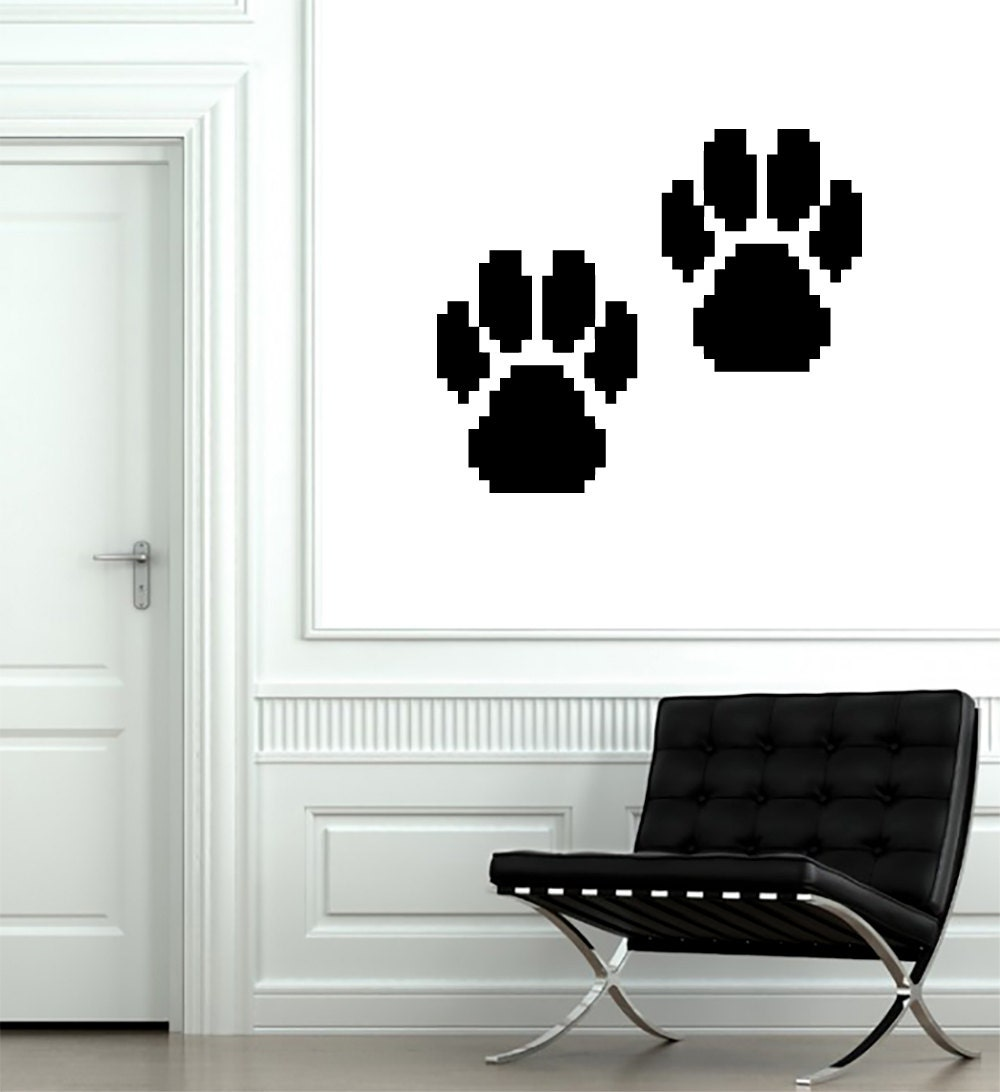 Wall decals pixel paw print decal vinyl sticker decal art home for Custom vinyl mural prints