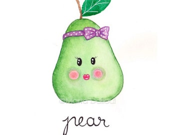 Pear art print. Fruit watercolor painting. Cute pear illustration. Whimsical fruit nursery art. Kitchen fruit food wall art. Pear lover gift