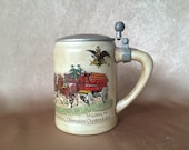 Budweiser Stein, Pewter Lid, Ceramarte CSL9, Champion Clydesdales, Collectable Stein, 1976 Holiday Stein, Fathers Day Gift, Vintage Bar