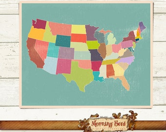 UNITED STATES Map USA Poster X Print Size - High resolution us map download