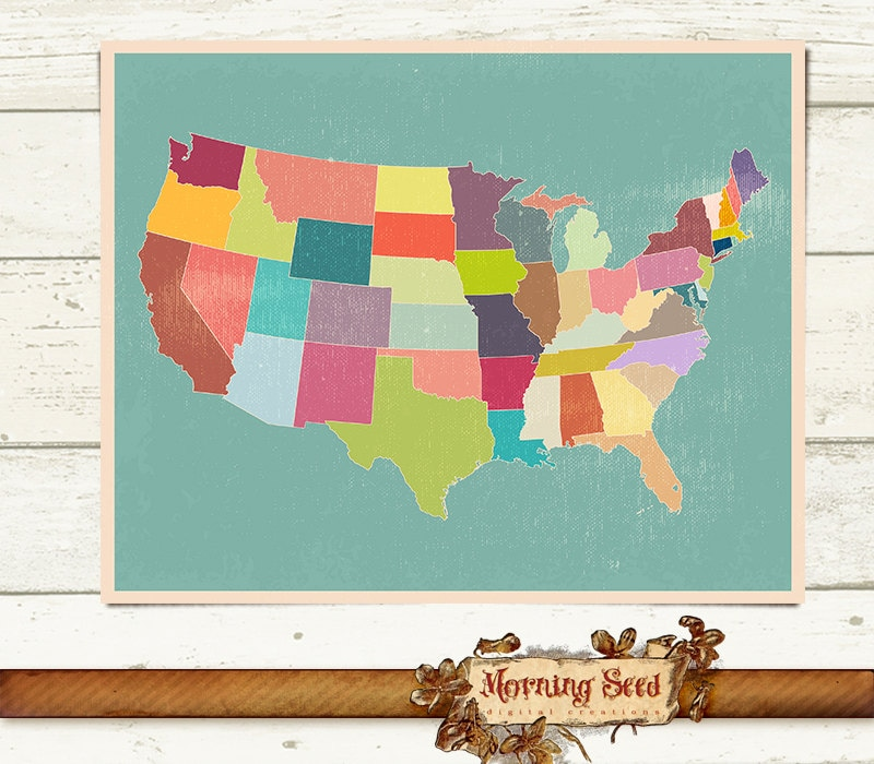 United States Map Wall Art Size High Resolution Printables - Map of the us poster size