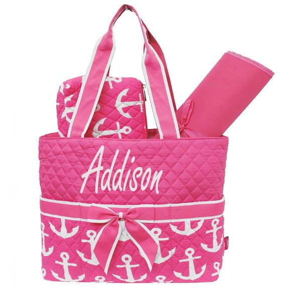 monogram diaper bag personalized pink and by sewsassybootique. Black Bedroom Furniture Sets. Home Design Ideas