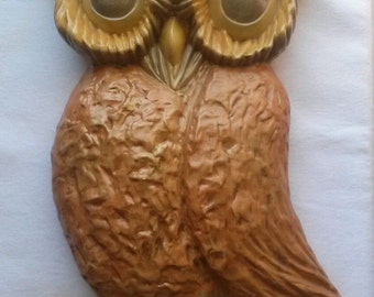 Large Vintage Ceramic Owl Wall Hanging 1 Foot Tall