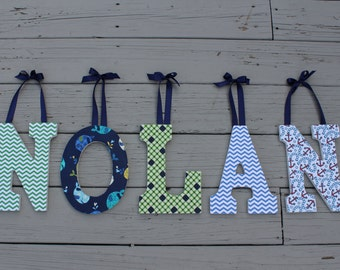 "9"" Fabric covered wooden letters for nursery/bedroom with ribbon ties"