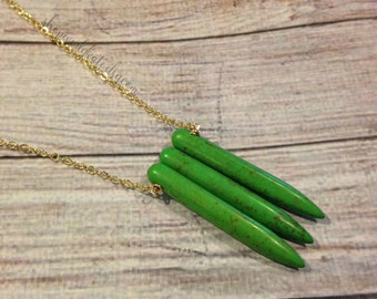 Green Spike Necklace, Quartz Spike Necklace, Spike Pendant Necklace, Gold Spike Necklace, Green Quartz, Boho Spike Necklace, Spike Jewelry