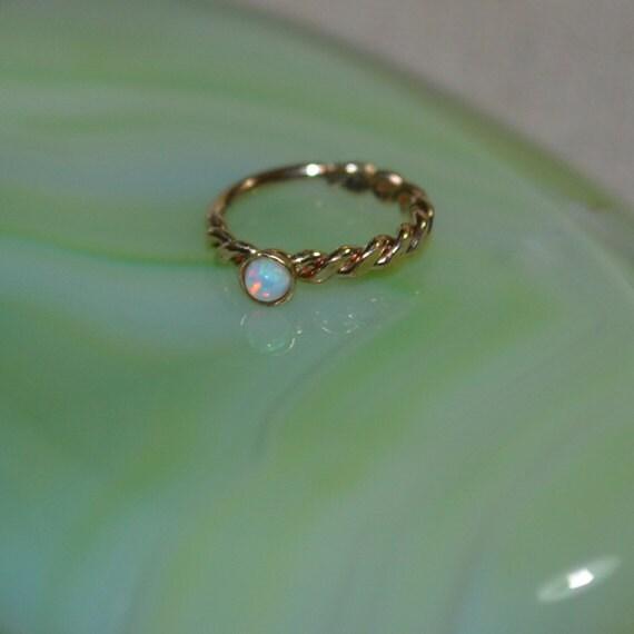2mm White Opal Nose Ring - Gold Nose Hoop - Tragus Earring - Cartilage Hoop - Forward Helix Earring - Septum Ring - Nose Piercing 18 gauge