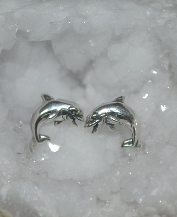 Silver Dolphin Stud Earrings - 12mm Dolphin Post Earrings - Cartilage Earring Stud - 20 Gauge - Helix Earring - Conch Piercing