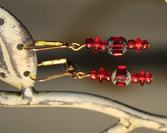 Red faceted drop earings