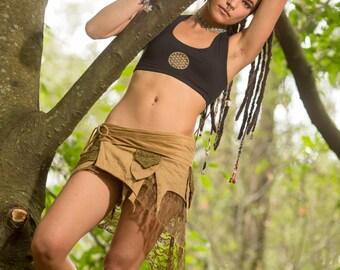 Teva Flow Bra with Flower of Life (Black) - Handmade Flower of Life Bra Open Back Yoga Bra, Gypsy Tribal Goa Hippie Fair Yoga Clothing