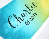 Custom Watercolor Name Memorial Art- Boy