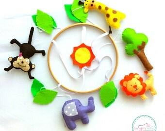 Jungle animal baby mobile / animal theme nursery / crib mobile / cot mobile