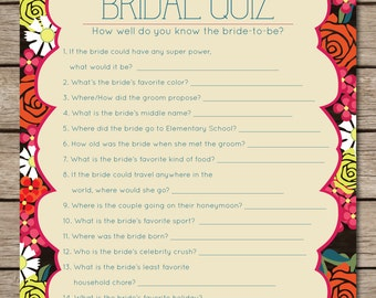 Fiesta Floral Bridal Quiz Bridal Shower & Wedding Game