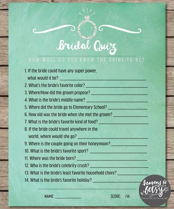 Mint Watercolor Bridal Quiz Bridal Shower & Wedding Game