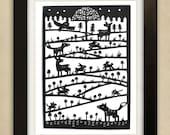 Woodland Scene Original Papercut
