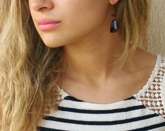 Glass Earrings / Brown Smoky Glass Earrings /  Dangle Earrings