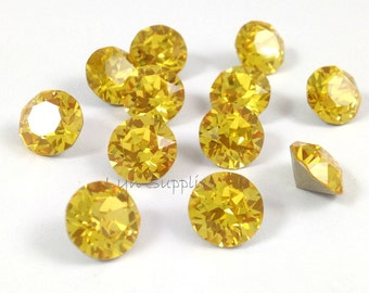 1088 SS39 LIGHT TOPAZ Swarovski Crystal Xirius Chaton Pointed Back Round Stone 12pieces