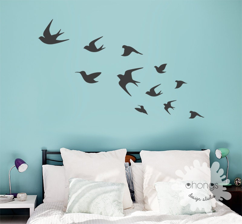 Bird wall decal flying birds wall deal birds wall sticker for Bird wall art