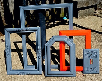 Picture frame set , frames and displays , open frame gallery , handmade , colorful picture frames