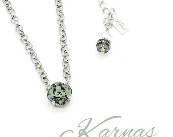 BLACK DIAMOND 12mm Cushion Cut Necklace Swarovski Crystal *Pick Your Finish *Karnas Design Studio™ *Free Shipping*
