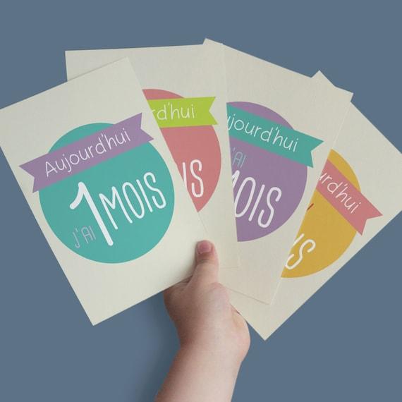 Kit de cartes tapes les premiers mois de b b - Carte etape bebe a imprimer ...