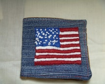 Wallet/Billfold - Patriotic Flag Hand Embroidered