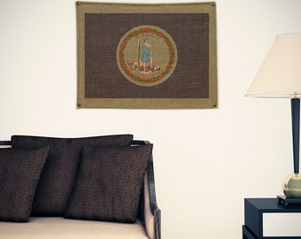 Virginia Burlap Flag