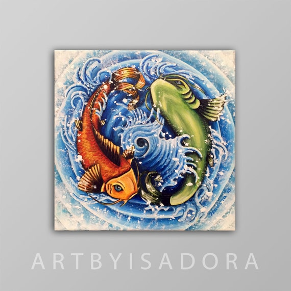 Original koi fish painting yin yang design japanese tattoo for Original koi fish