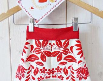 Baby baggy pants, screenprinted, hungarian folk pattern - RED