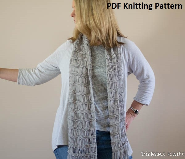 Knitting Pattern For Summer Scarf : PDF KNITTING PATTERN Boho Lace Scarf Knit Lace Summer Scarf