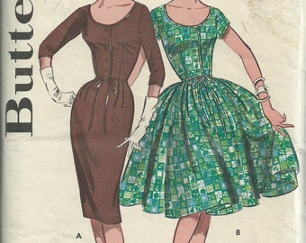 1960s scoop necked dress pattern // vintage Butterick 9566 dress pattern Size 14 Bust 34