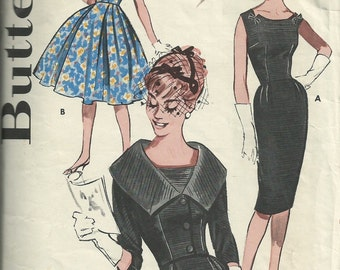1960s evening dress pattern // vintage Butterick 9563 dress pattern Size 12 Bust 32
