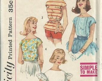1960s blouse pattern // vintage Simplicity 3343 blouse pattern Size 14 Bust 34