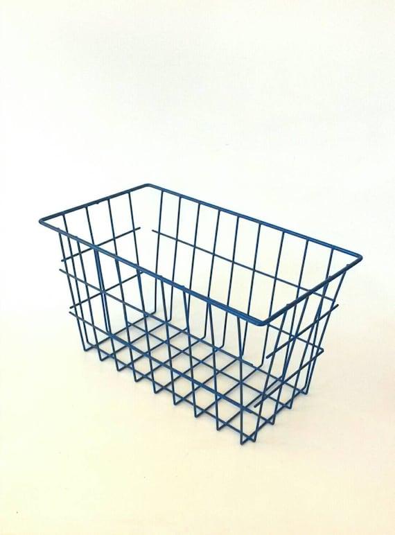 Metal wire baskets blue navy vintage storage bins bathroom for Navy bathroom bin