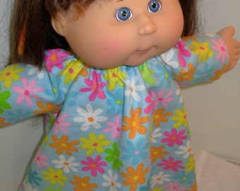 """Cabbage Patch 16 inch KIDS or 16 inch BABY Doll Nightgown, Pretty Colorful """"FLOWERS"""" Nightgown, 16 inch Cabbage Patch Doll Clothes"""